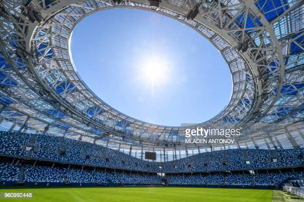 TOPSHOT An interior view of the Nizhny Novgorod Arena in Nizhny Novgorod on May 21 2018 The stadium will host four group matches Round of 16 game and...