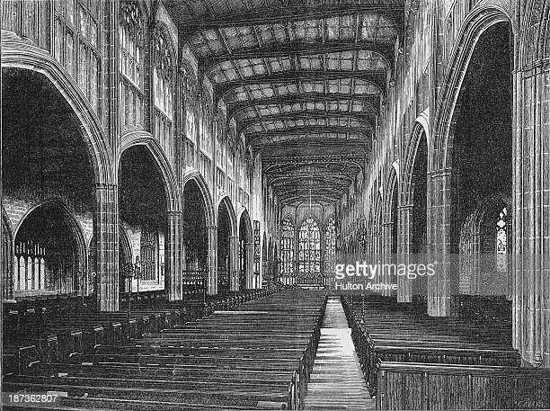 An interior view of the old St Michael's Cathedral Coventry circa 1900 Built in the late 14th and early 15th Centuries the cathedral was left in...