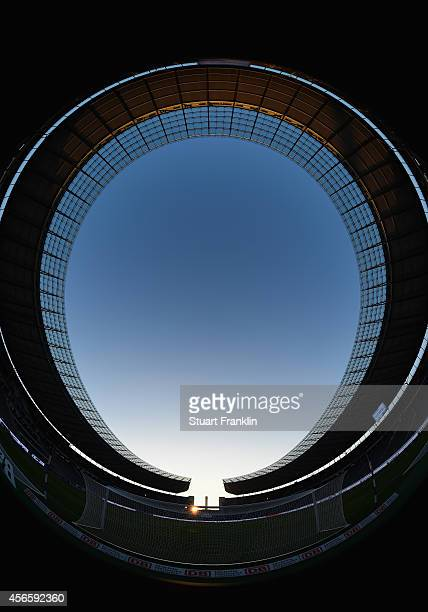 An interior view of the Olympic stadium prior to the Bundesliga match between Hertha BSC and Vfb Stuttgart at Olympiastadion on October 3 2014 in...