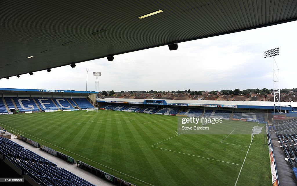 An Interior view of the Priestfield Stadium before the pre season friendly match between Gillingham and Crystal Palace at Priestfield Stadium on July 23, 2013 in Gillingham, Medway.