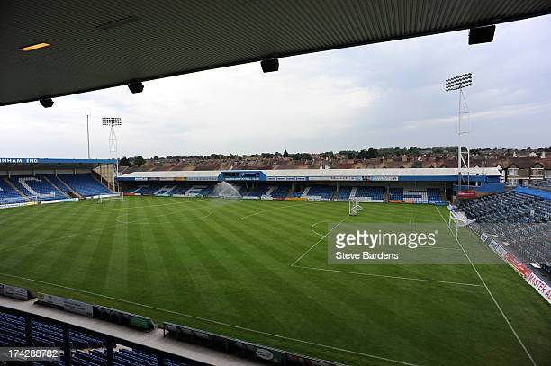 An Interior view of the Priestfield Stadium before the pre season friendly match between Gillingham and Crystal Palace at Priestfield Stadium on July...