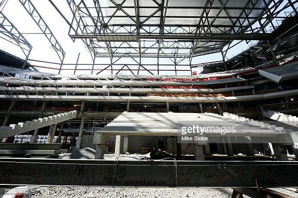 An interior view of the Prudential Center's construction site during a topping off ceremony at the Prudential Center on March 21, 2007 in Newark, New...