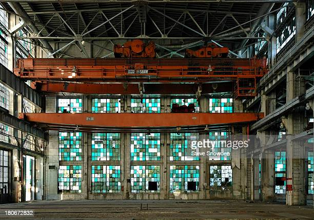 An interior view of the Santa Fe Railroad Centralized Work Equipment Shop on July 16 2004 in Albuquerque New Mexico This abandoned facility and the...