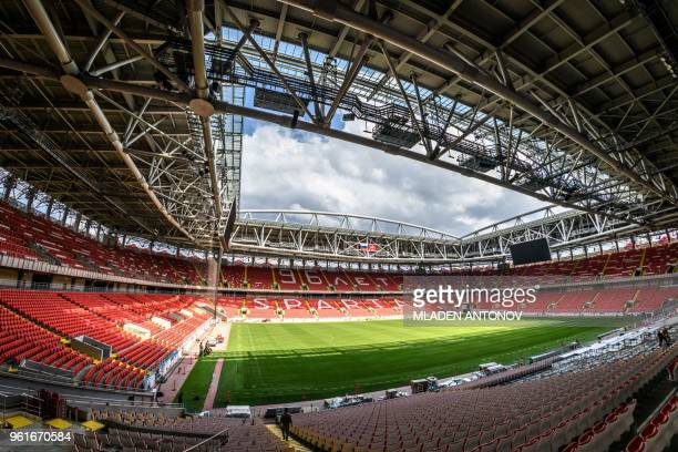 An interior view of the Spartak Stadium in Moscow on May 23 2018 The 45000seater stadium will host four group matches and a round of 16 game of the...