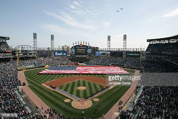 An interior view of US Cellular Field during the National Anthem and flyover before the Opening Day game between the Chicago White Sox and the...