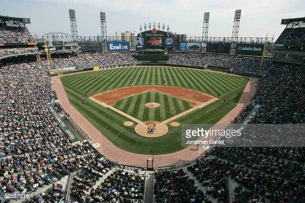 An interior view of US Cellular Field during the Opening Day game between the Chicago White Sox and the Cleveland Indians on April 4 2005 at US...