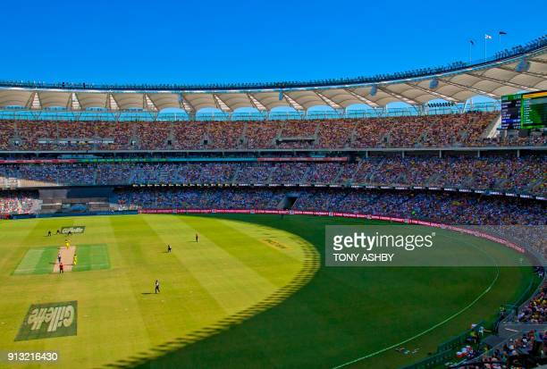 An interior view taken on January 28 2018 shows the new Optus Perth Stadium which hosted the oneday international cricket match between England and...