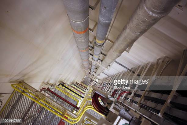 An interior view toward the ocean floor is seen aboard the Chevron Corp Jack/St Malo deepwater oil platform in the Gulf of Mexico off the coast of...