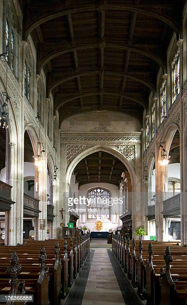 An interior view towards the altar of Great Saint Mary's Church, Cambridge. The church itself dates from the late 15th century.