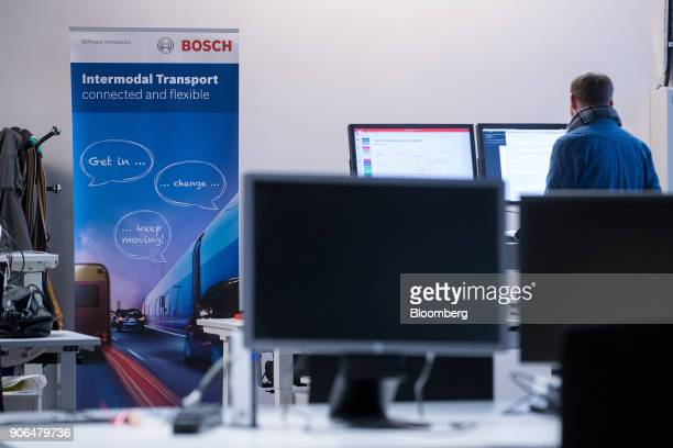 An Intermodal Transport sign stands in a work area as Robert Bosch GmbH opens an Internet of Things campus in Berlin Germany on Thursday Jan 18 2018...
