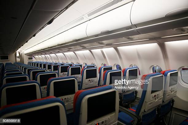 An internal view of Airbus A330300 which Turkish Airlines included to its fleet as its 300th plane is seen in Istanbul Turkey on February 5 2016
