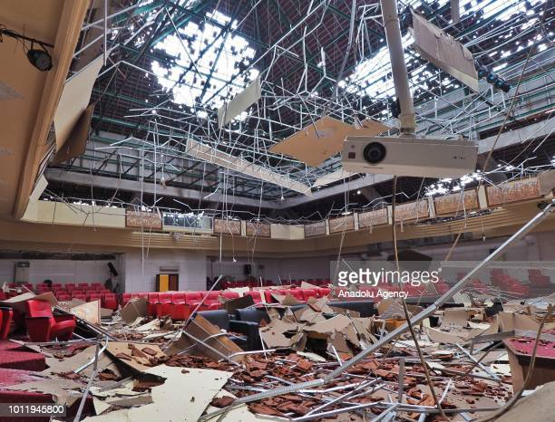 An internal view of damaged traditional arts and crafts central office is seen after a magnitude 70 earthquake shook eastern Indonesia on August 6...