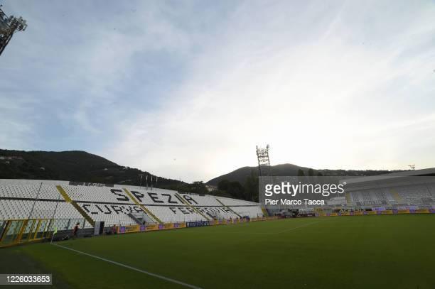 An internal view of the Alberto Picco Stadium prior the serie B match between Spezia Calcio and Cosenza Calcio at Stadio Alberto Picco on July 10,...