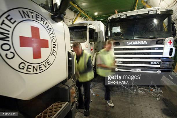 An International Committee of the Red Cross truck is loaded into an Antonov 124100 airplane at Nairobi Jommo Kenyatta International Airpor 26 August...