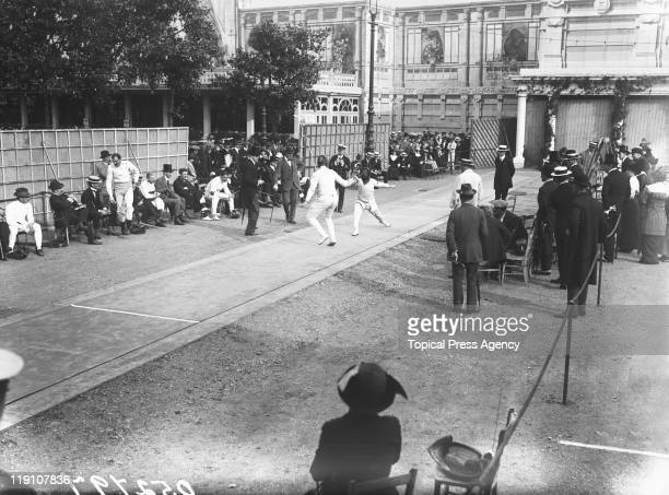 An international fencing tournament at Earl's Court in London June 1913
