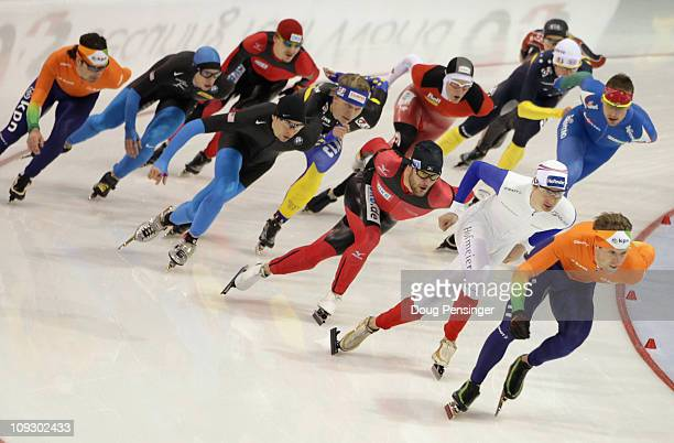 An International field of competitors lap the track during the Men's Mass Start Demonstration Race at the Essent ISU Speed Skating World Cup Salt...