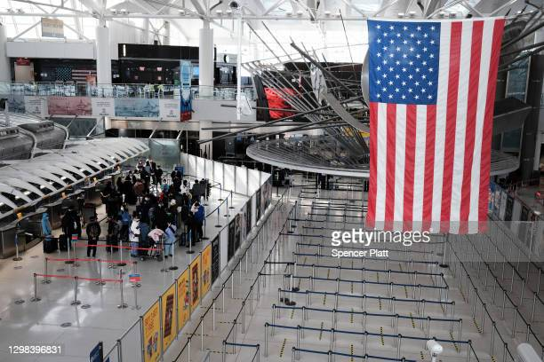 An international terminal is seen at John F. Kennedy Airport on January 25, 2021 in New York City. In an effort to further control Covid-19...