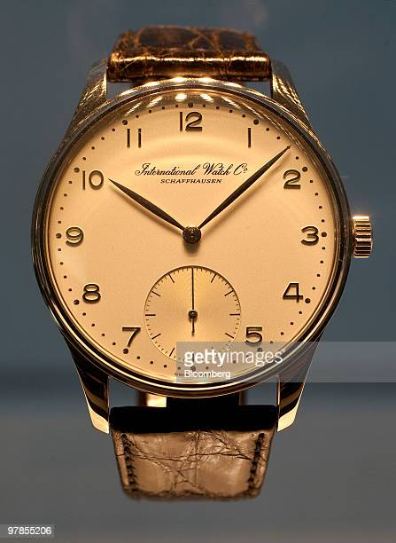An International Watch Co AG 1993 Anniversary Portuguese wristwatch is seen at the company's headquarters in Schaffhausen Switzerland on Wednesday...