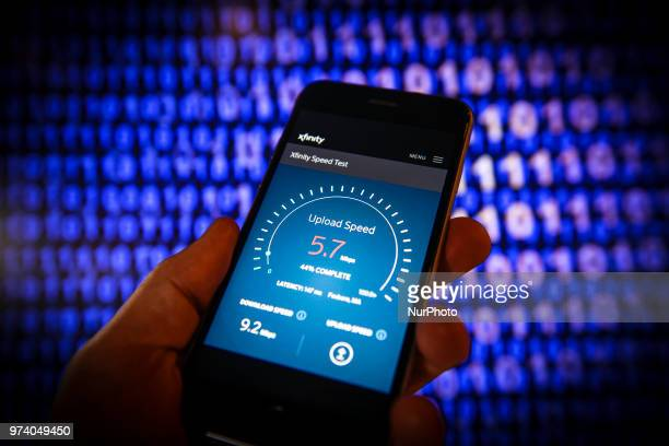 An internet speed test website is seen on a mobile device in this photo illustration on June 11 2018 in Warsaw Poland With the American Federal...