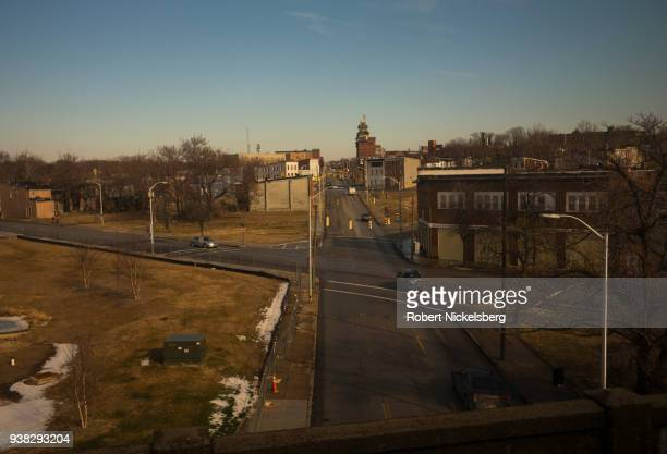 An intersection effected by urban renewal projects is seen from a Washington DC bound Amtrak train January 9 2018 in Baltimore Maryland Often named...