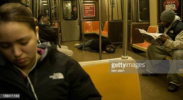 CONTENT] an intoxicated man falls asleep on a brooklyn subway car floor and proceeds to urinate on himself the passengers don't seem to notice