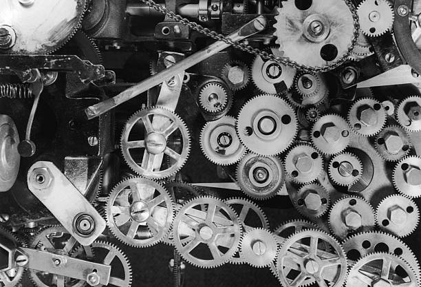 An intricate web of gears and cogs, circa 1935.