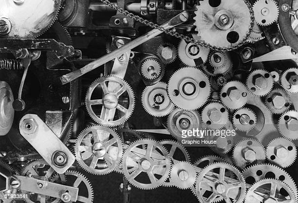 An intricate web of gears and cogs circa 1935
