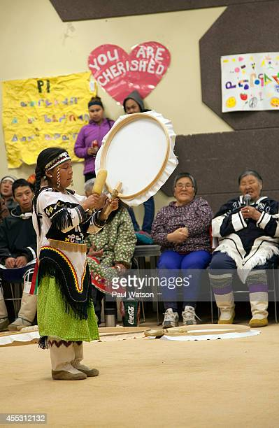 An Inuit girld drum danced to honor the historic discovery of the Franklin Expedition shipwreck as elders includng federal minister Leona Aglukkaq's...