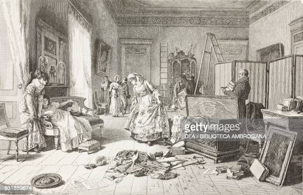 An inventory painting by Eleuterio Pagliano 1878 Paris Universal Exposition France engraving from L'Illustrazione Italiana Year 5 No 21 May 26 1878