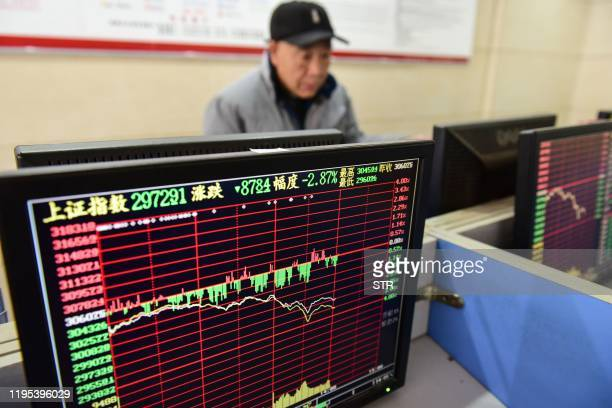 An investor looks at a screen showing stock market movements at a securities company in Fuyang in China's eastern Anhui province on January 23 2020...