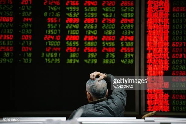 An investor looks at screens showing stock market movements at a securities company in Beijing on January 14 2016 Shanghai stocks gave up early gains...