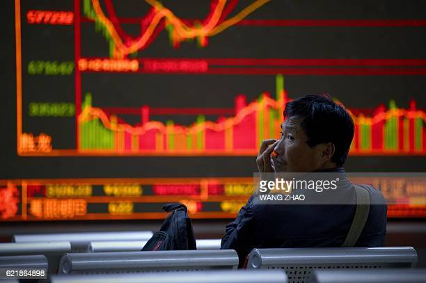An investor rests in a chair in front of screens showing stock market movements at a securities company in Beijing on November 9 2016 Stock markets...