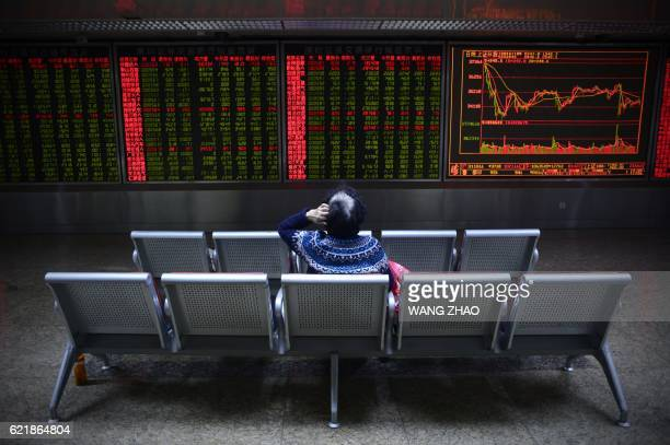 An investor rests on a chair in front of screens showing stock market movements at a securities company in Beijing on November 9 2016 Stock markets...