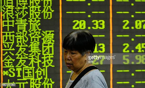 An investor walks past a screen showing stock share prices in Hangzhou on July 28 2015 Chinese shares sank in the morning of July 28 a day after...