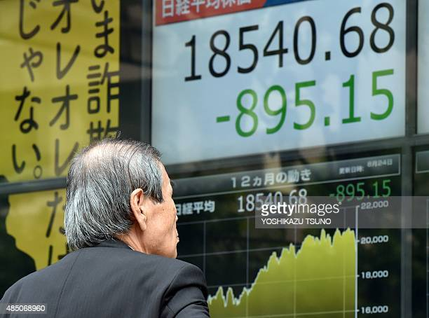 An investor watches a share prices board in Tokyo on August 24 2015 Japan's share prices dropped 62334 points at the Tokyo Stock Exchange swept lower...