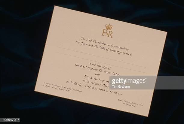 An invitation to the wedding of Prince Andrew to Miss Sarah Ferguson on 23rd July 1986