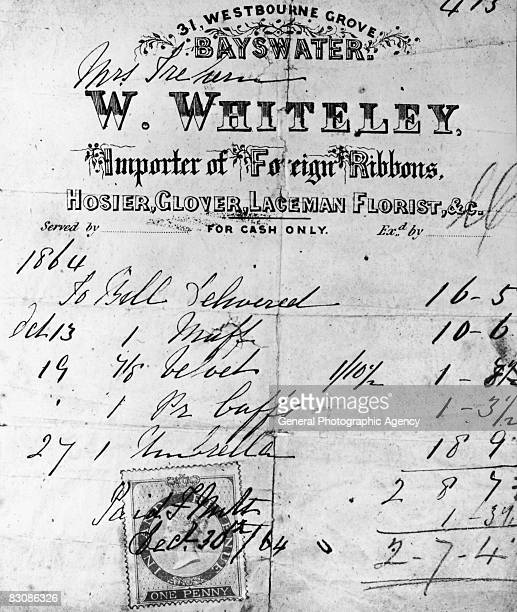 An invoice for goods from William Whiteley's 'fancy goods' store on Westbourne Grove Bayswater 1864
