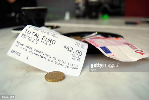 An invoice shows the 196 percent tax on a beverage at a restaurant in Paris on March 10 2009 EU finance ministers reached a longsought deal today to...