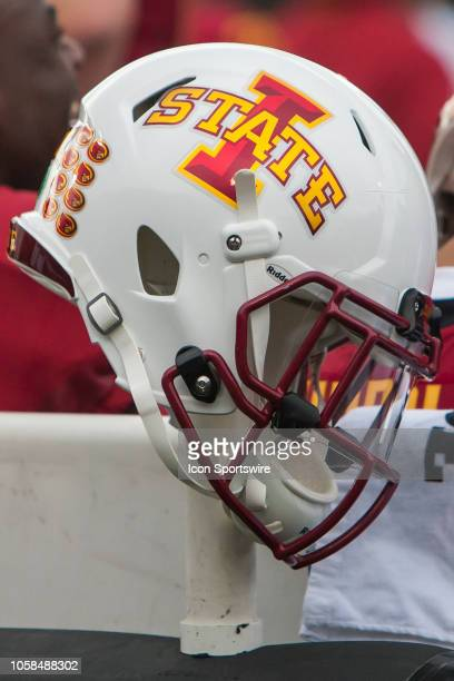 An Iowa State Cyclones Helmet sit atop a stand during the Big 12 matchup between the Iowa State Cyclones and the Kansas Jayhawks on Saturday November...
