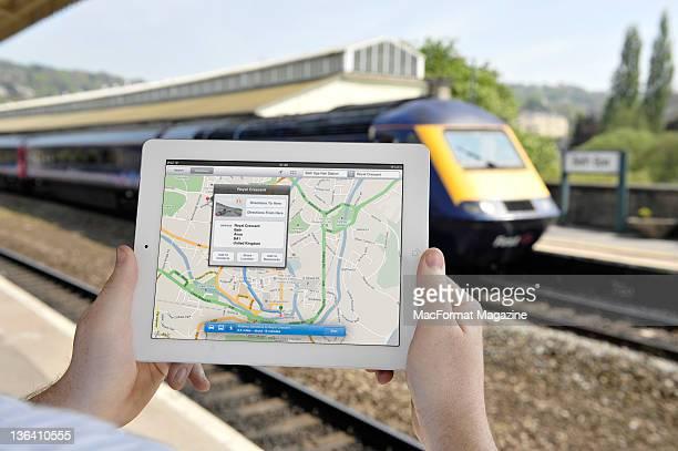 An iPad 2 displaying directions at Bath train station May 3 2011
