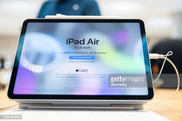 An iPad Air tablet for sale at a store in New York, U.S., on Friday, Sept. 24, 2021. Apple Inc. Is releasing its iPhone 13 lineup, testing whether...