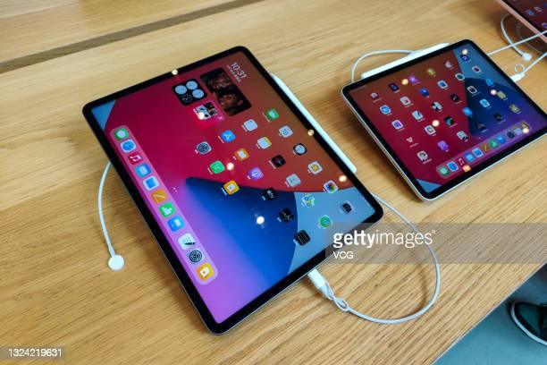 An iPad Pro equipped with the M1 chip is on display at an Apple flagship store at Nanjing Road shopping street on June 18, 2021 in Shanghai, China.