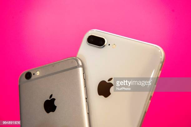 An iPhone 6s and an iPhone 8 plus are seen in this photo illustration on July 9 2018