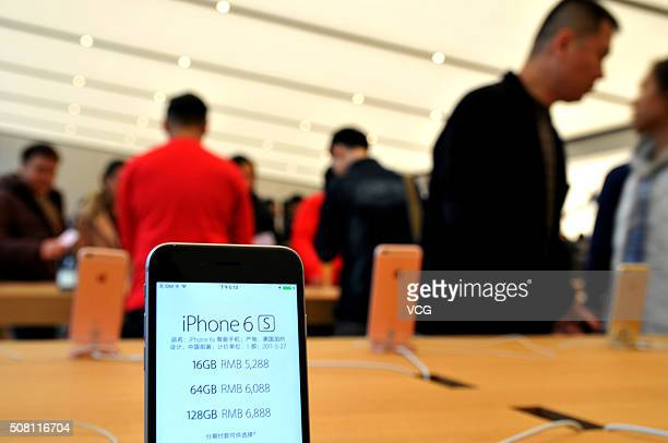 An iPhone 6s is seen at an newopened Apple Store in Tianhe District on February 2 2016 in Guangzhou Guangdong Province of China Guangzhou welcame its...