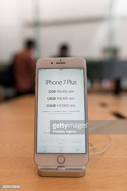 An iPhone 7 is seen being displayed at Apple Store in Omotesando Avenue in Tokyo Japan on September 16 2016 Apple has released for sale its new...