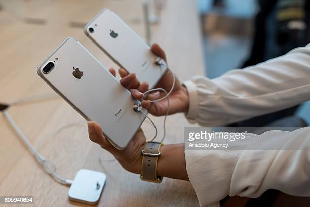 An iPhone 7 plus and an iPhone 7 are seen being displayed at Apple Store in Omotesando Avenue in Tokyo Japan on September 16 2016 Apple has released...