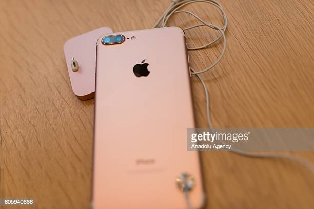 An iPhone 7 plus is seen being displayed at Apple Store in Omotesando Avenue in Tokyo Japan on September 16 2016 Apple has released for sale its new...