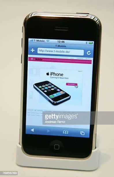 An iPhone is seen during a press conference on September 19 2007 in Berlin Germany Apple and TMobile today announced that German telecom giant...