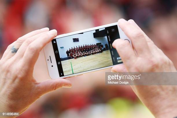 An iphone is seen during an Essendon Bombers team photo session at The Hangar on February 6 2018 in Melbourne Australia