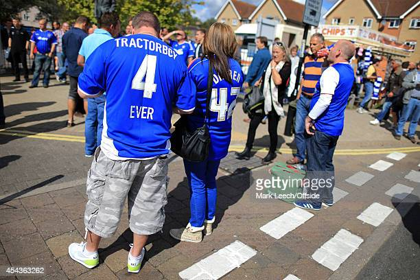 An Ipswich fan with 'Tractorboy 4 Ever' written on the back of his replica shirt seen prior to the Sky Bet Championship match between Ipswich Town...